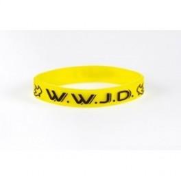 """""""Bracelet WWJD jaune taille unique silicone largeur 1cm"""""""