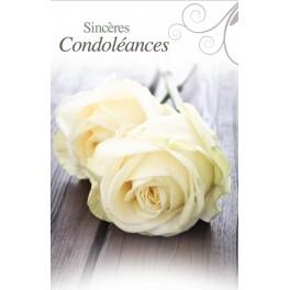"""""""carte de condoléance - roses blanches"""""""