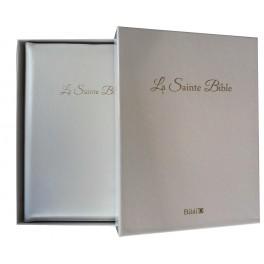 """""""Bible Segond 1910 - La Sainte Bible - gros caractères-cuir blanc-tranche or-glissière et coffret"""""""