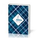 """""""Bible Semeur 2015, couverture textile semi-souple bleue, tissu carreaux, tranche blanche"""""""